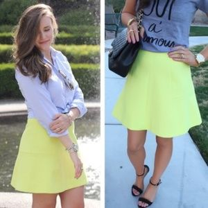 j. crew // fluted double crepe mini skirt neon